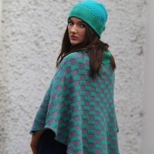 Checker Poncho 2 Linda Wilson Irish Knitwear Designer Limerick