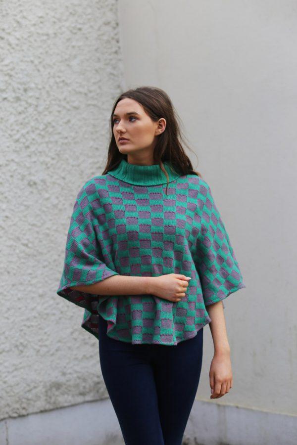 Checker Poncho 3 Linda Wilson Irish Knitwear Designer Limerick