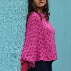 Checker Poncho Style Jumper 1 Linda Wilson Irish Knitwear Designer Limerick