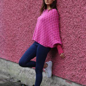 Checker Poncho Style Jumper 2 Linda Wilson Irish Knitwear Designer Limerick