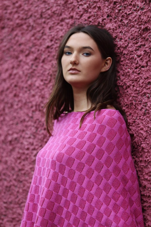 Checker Poncho Style Jumper 3 Linda Wilson Irish Knitwear Designer Limerick