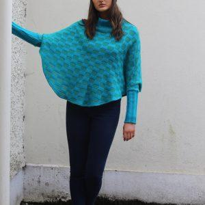 Checker Poncho with Sleeves 1 Linda Wilson Irish Knitwear Designer Limerick