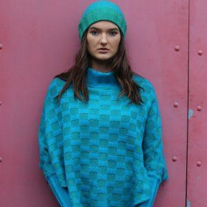 Checker Poncho with Sleeves 2 Linda Wilson Irish Knitwear Designer Limerick