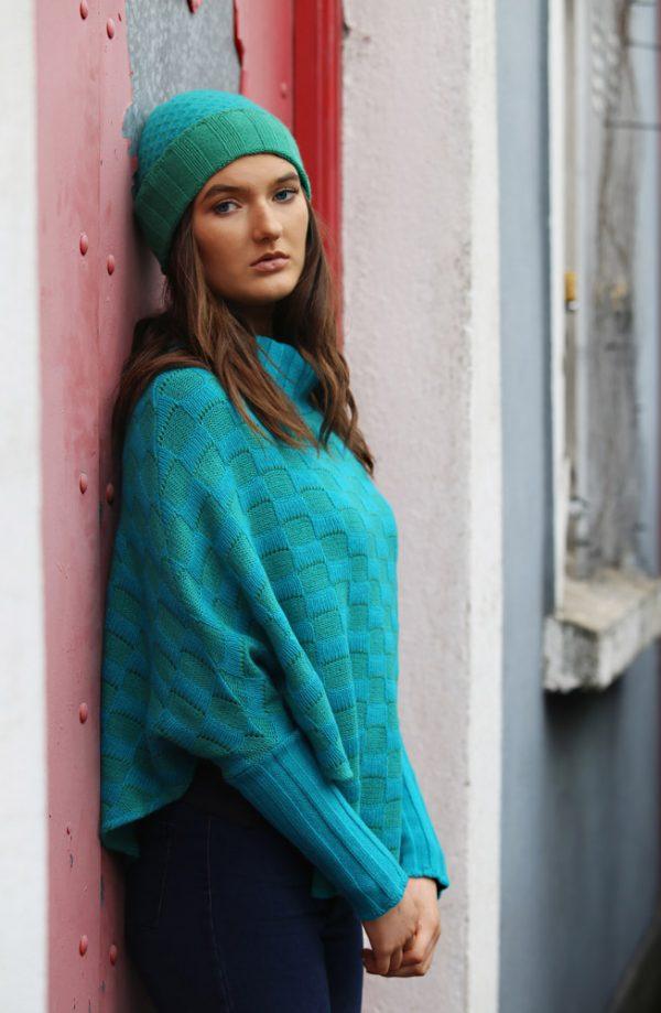Checker Poncho with Sleeves 3 Linda Wilson Irish Knitwear Designer Limerick