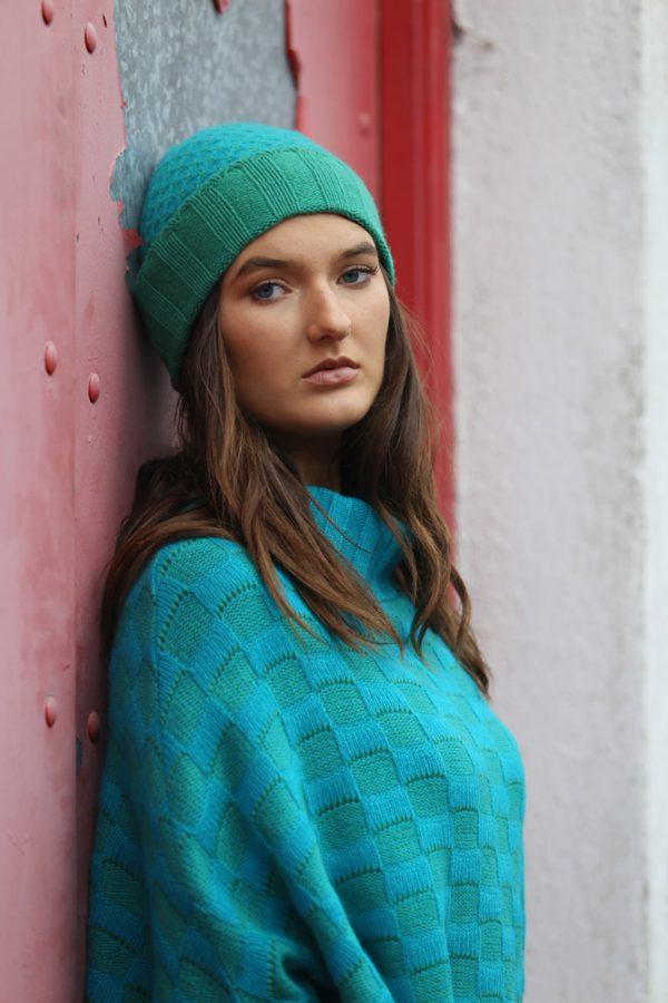 Checker Poncho with Sleeves 4 Linda Wilson Irish Knitwear Designer Limerick