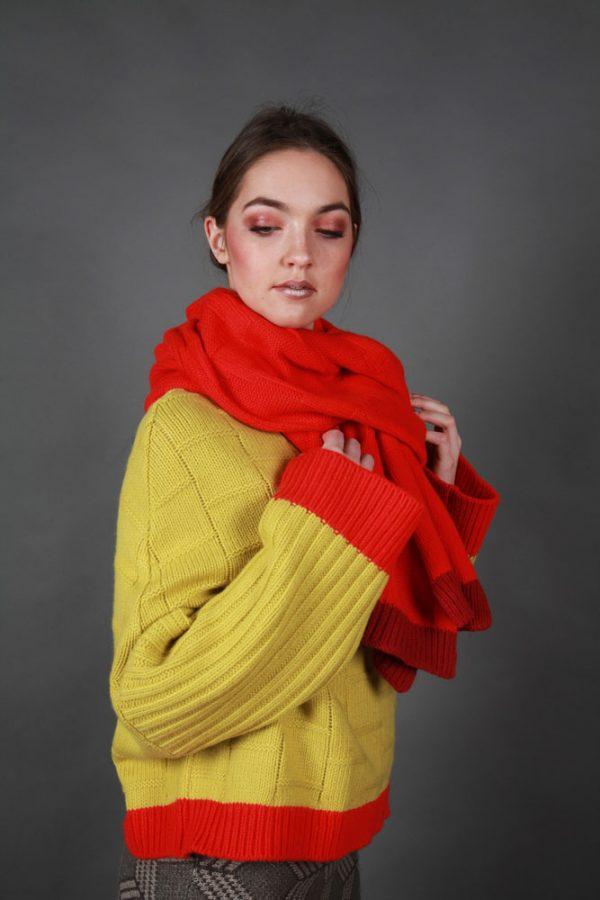 Chunky Dot Patterned Scarf LNGSCF1 Linda Wilson Irish Knitwear Designer Limerick