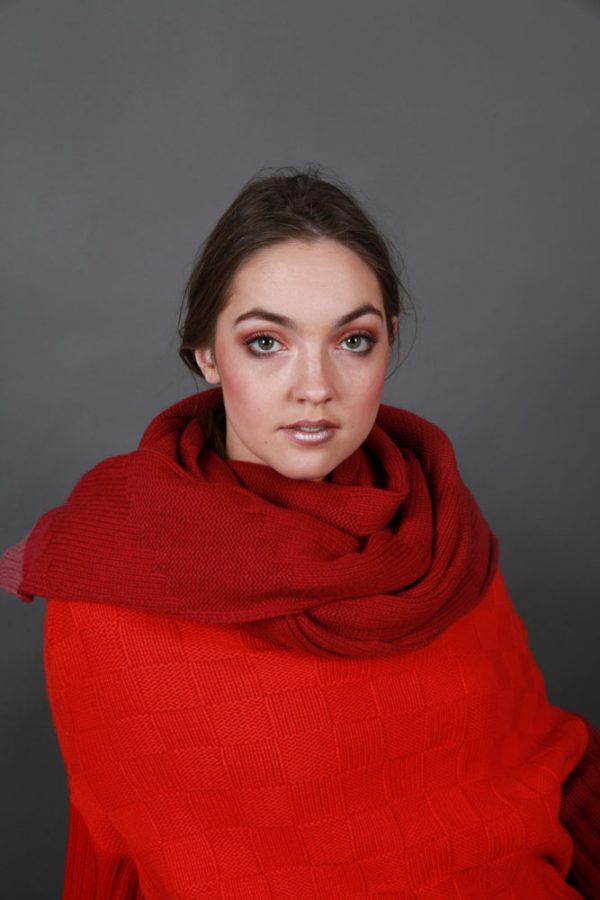 Chunky Textured Patterned Scarf LNGSCF2-1 Linda Wilson Irish Knitwear Designer Limerick