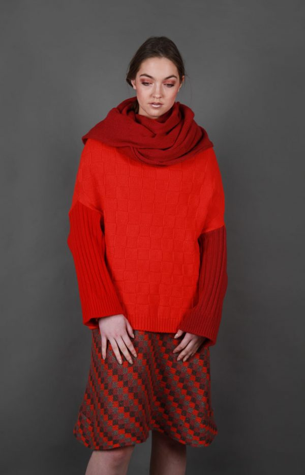 Chunky Textured Patterned Scarf LNGSCF2-2 Linda Wilson Irish Knitwear Designer Limerick