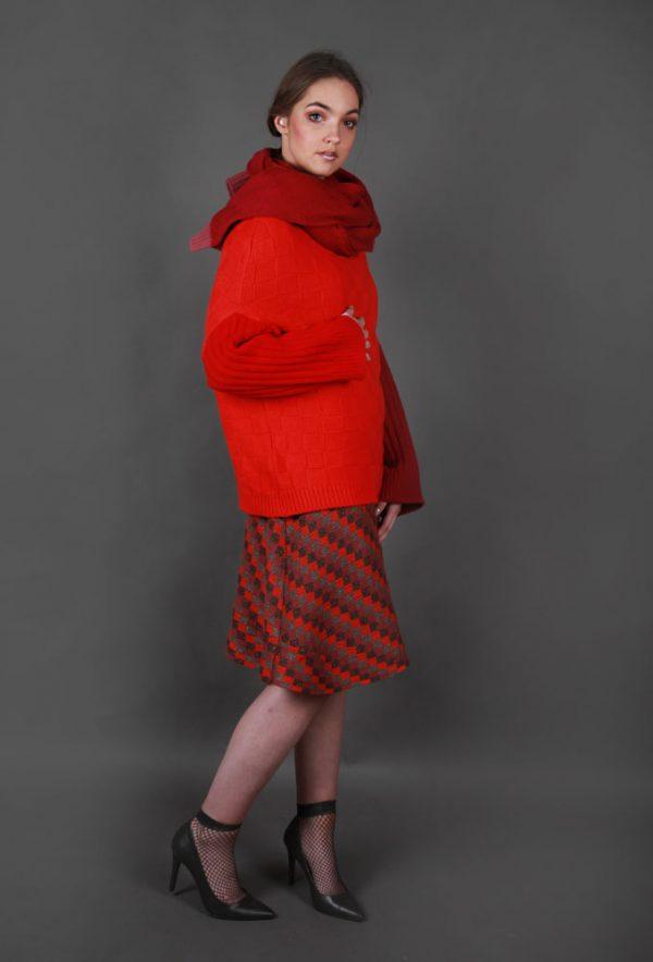 Chunky Textured Patterned Scarf LNGSCF2-3 Linda Wilson Irish Knitwear Designer Limerick