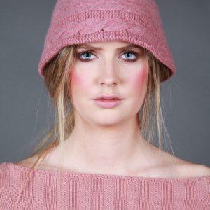 Cloche Style Cable Hat HAT20-1 Linda Wilson Irish Knitwear Designer