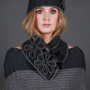 Coloured Rib Brimmed Blossom Hat HAT3-1 Linda Wilson Irish Knitwear Designer