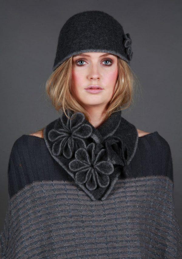 Coloured Rib Brimmed Blossom Hat HAT3-1 Linda Wilson Irish Knitwear Designer
