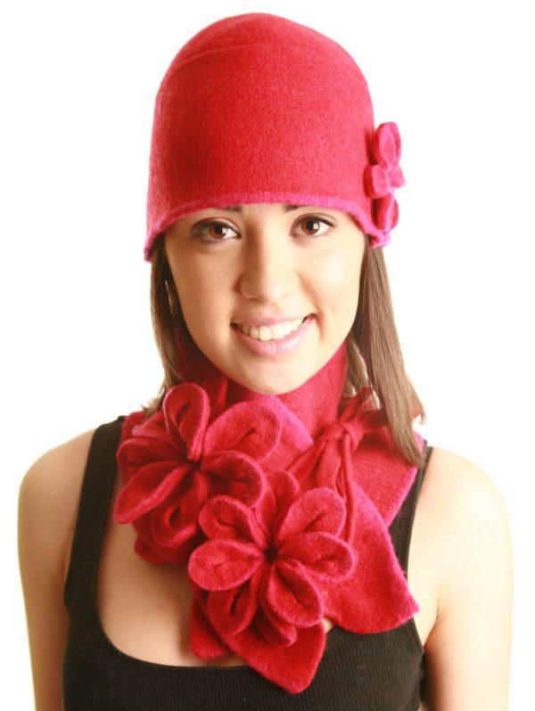 Coloured Rib Brimmed Blossom Hat HAT3-4 Linda Wilson Irish Knitwear Designer