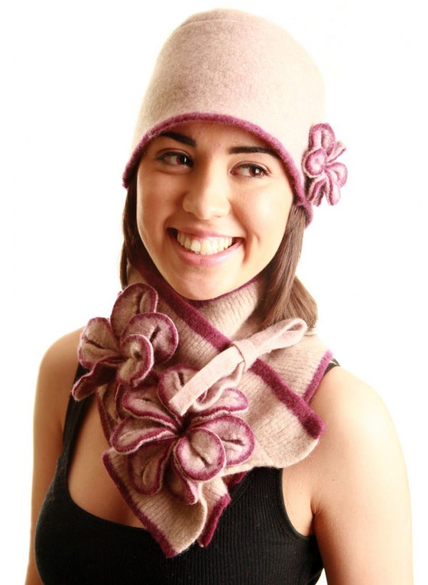 Coloured Rib Brimmed Blossom Hat HAT3-6 Linda Wilson Irish Knitwear Designer