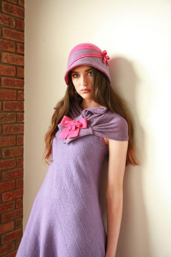 Double Bow Scarf SCF8-1 Linda Wilson Irish Knitwear Designer Limerick