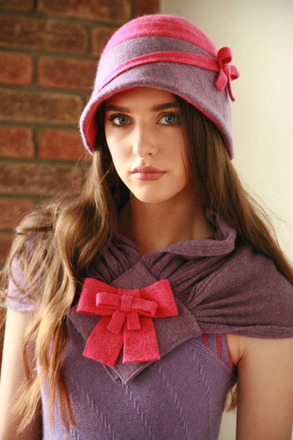 Double Bow Scarf SCF8-3 Linda Wilson Irish Knitwear Designer Limerick