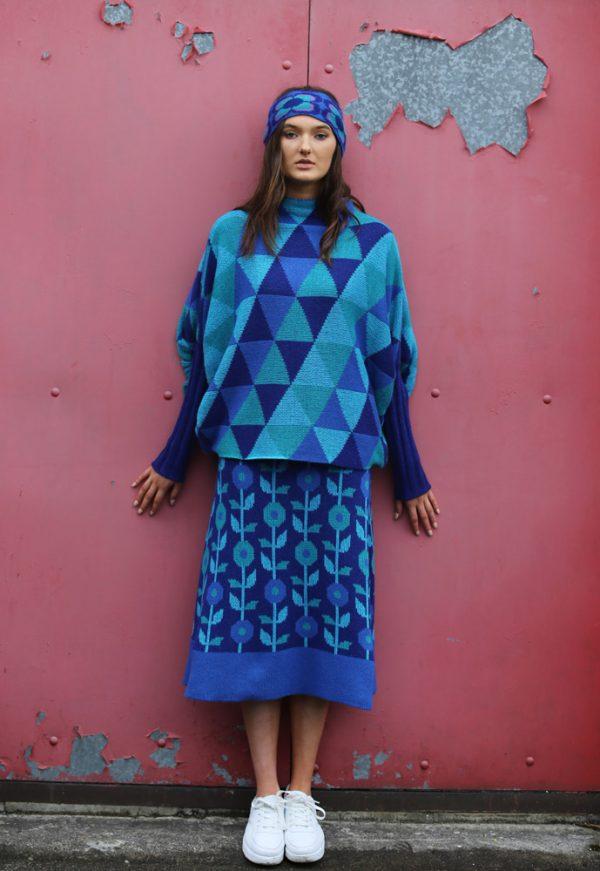 Floral A-Line Skirt 1 Linda Wilson Irish Knitwear Designer Limerick