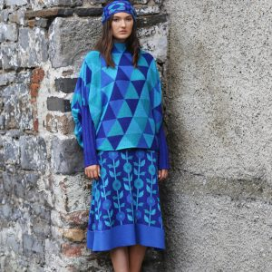 Floral A-Line Skirt 2 Linda Wilson Irish Knitwear Designer Limerick