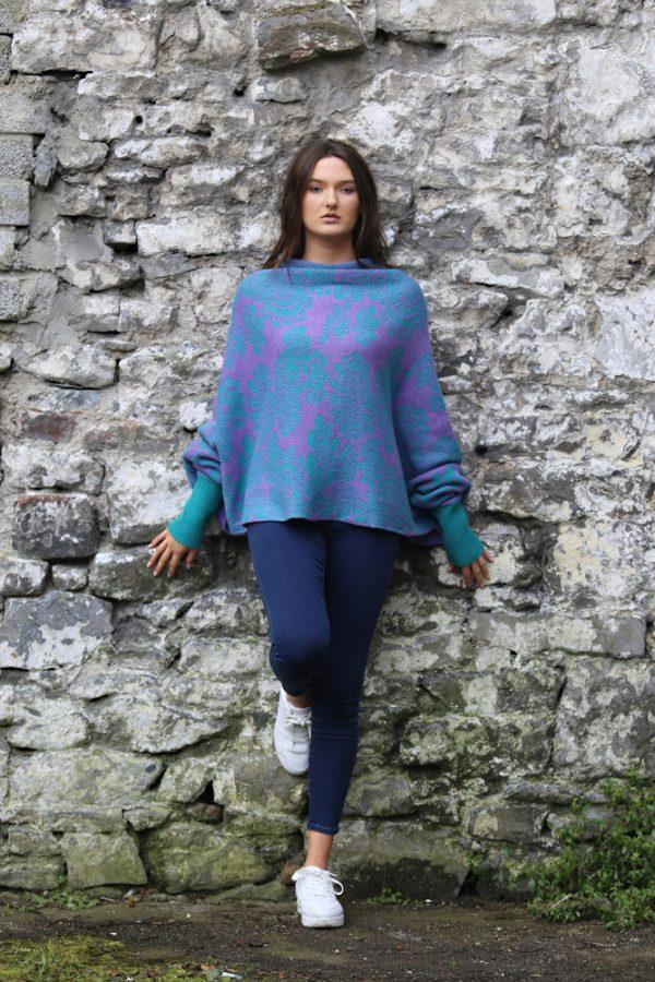 Floral Draped Jumper 1 Linda Wilson Irish Knitwear Designer Limerick