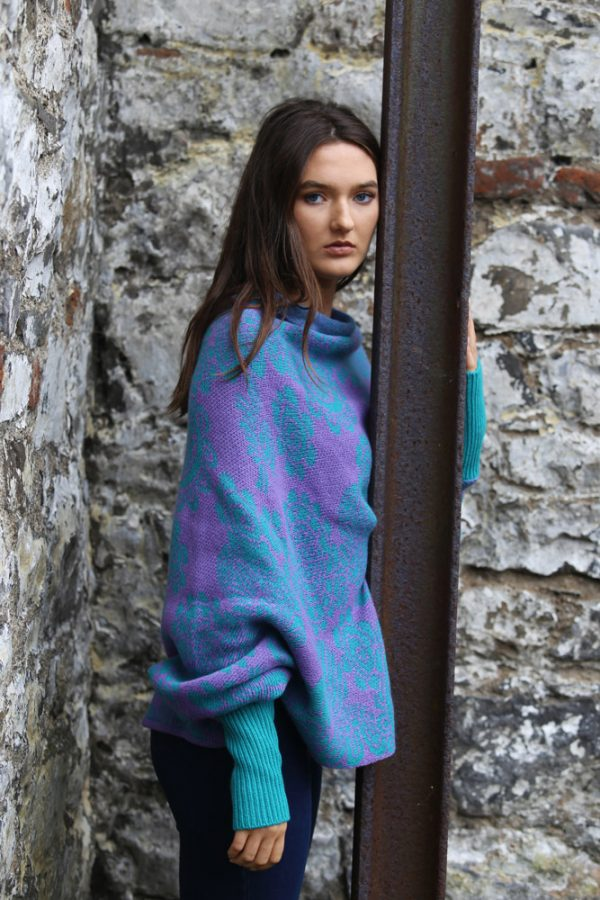 Floral Draped Jumper 2 Linda Wilson Irish Knitwear Designer Limerick