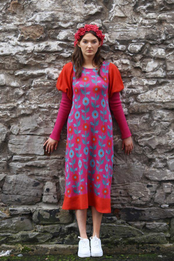 Floral Dress 1 Linda Wilson Irish Knitwear Designer Limerick