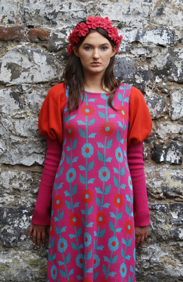 Floral Dress 2 Linda Wilson Irish Knitwear Designer Limerick