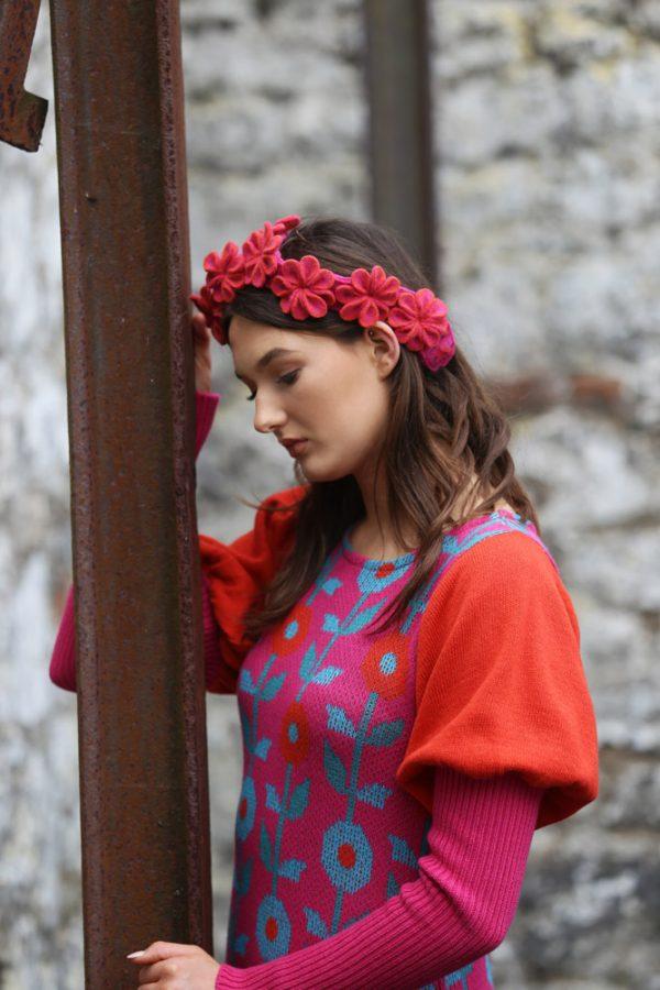 Floral Dress 3 Linda Wilson Irish Knitwear Designer Limerick