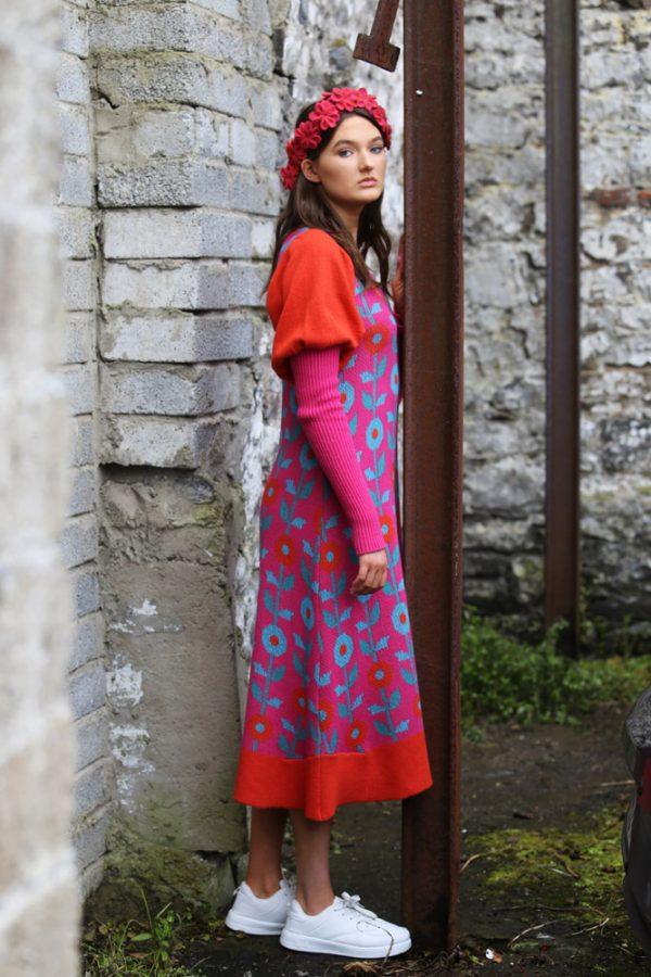 Floral Dress 4 Linda Wilson Irish Knitwear Designer Limerick