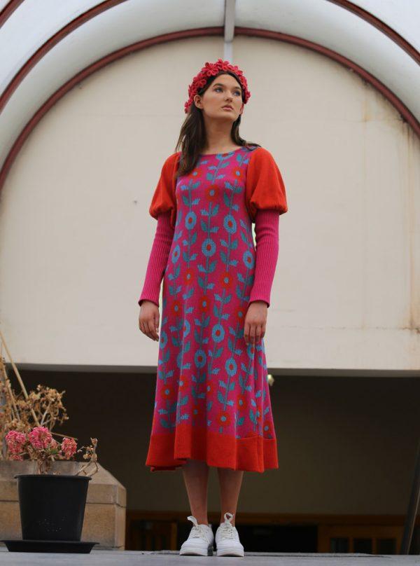 Floral Dress 5 Linda Wilson Irish Knitwear Designer Limerick