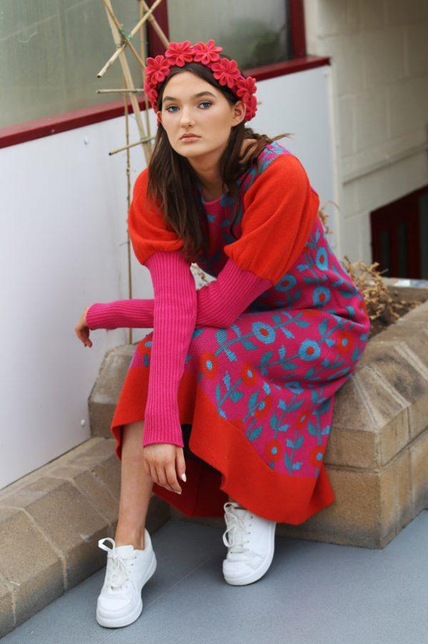 Floral Dress 6 Linda Wilson Irish Knitwear Designer Limerick