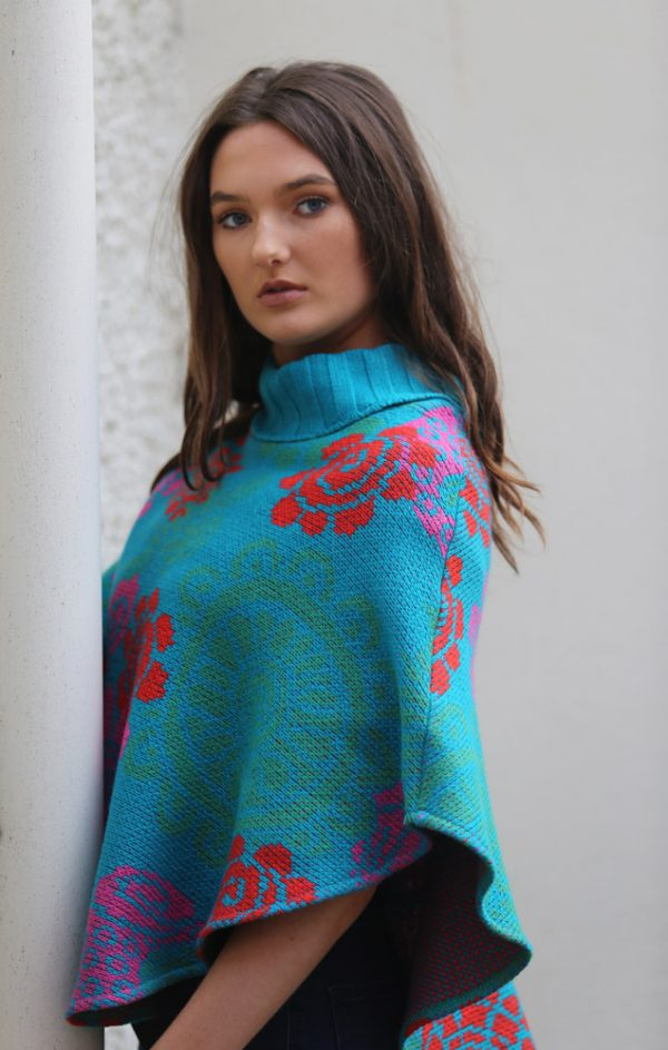 Floral Poncho 1 Linda Wilson Irish Knitwear Designer Limerick