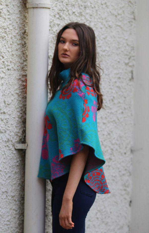 Floral Poncho 2 Linda Wilson Irish Knitwear Designer Limerick