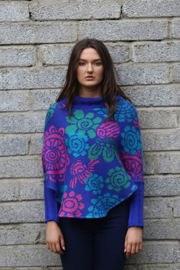 Floral Poncho with Sleeves 1 Linda Wilson Irish Knitwear Designer Limerick