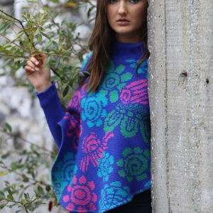 Floral Poncho with Sleeves 2 Linda Wilson Irish Knitwear Designer Limerick