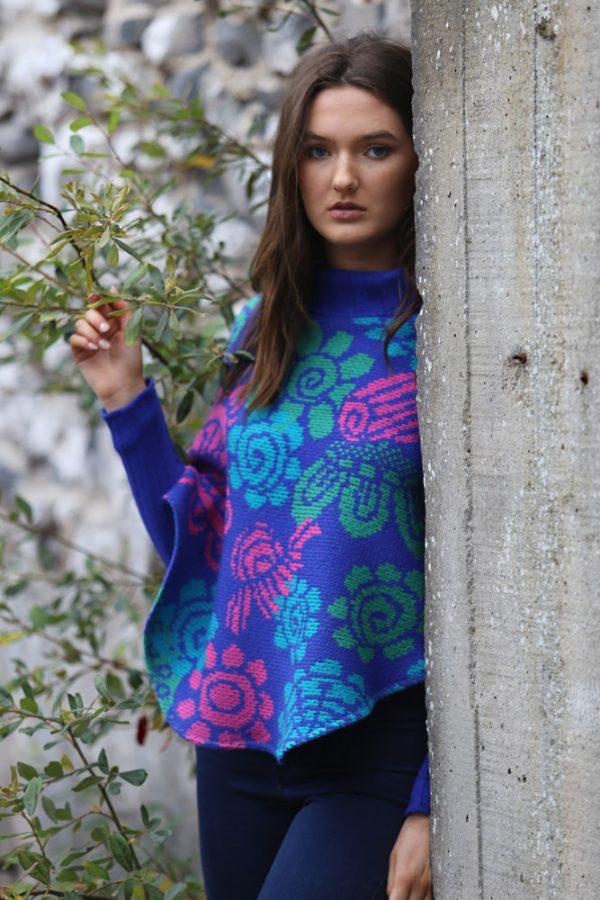Floral Poncho with Sleeves 2 Linda Wilson Irish Knitwear Designer Limerick