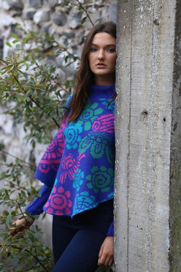 Floral Poncho with Sleeves 3 Linda Wilson Irish Knitwear Designer Limerick