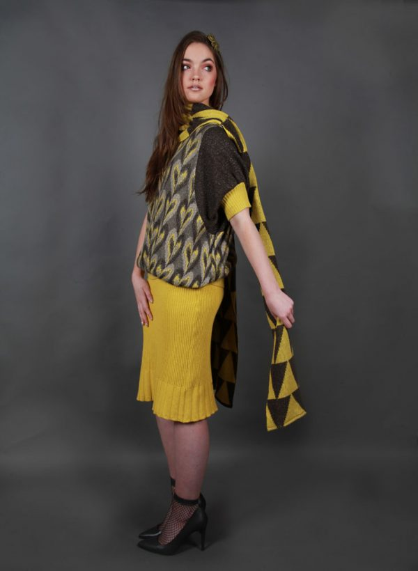 Graphic Patterned Wrap WRPSCF7c-3 Linda Wilson Irish Knitwear Designer Limerick