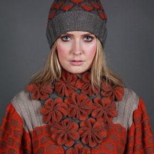 Large Blossom Drop Neckpiece NECK7-1 Linda Wilson Irish Knitwear Designer Limerick