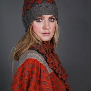 Large Blossom Drop Neckpiece NECK7-2 Linda Wilson Irish Knitwear Designer Limerick
