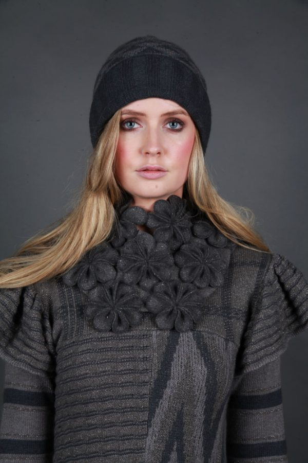 Large Blossom Square Neckpiece NECK8-1 Linda Wilson Irish Knitwear Designer Limerick