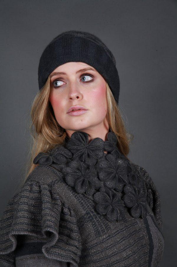 Large Blossom Square Neckpiece NECK8-2 Linda Wilson Irish Knitwear Designer Limerick