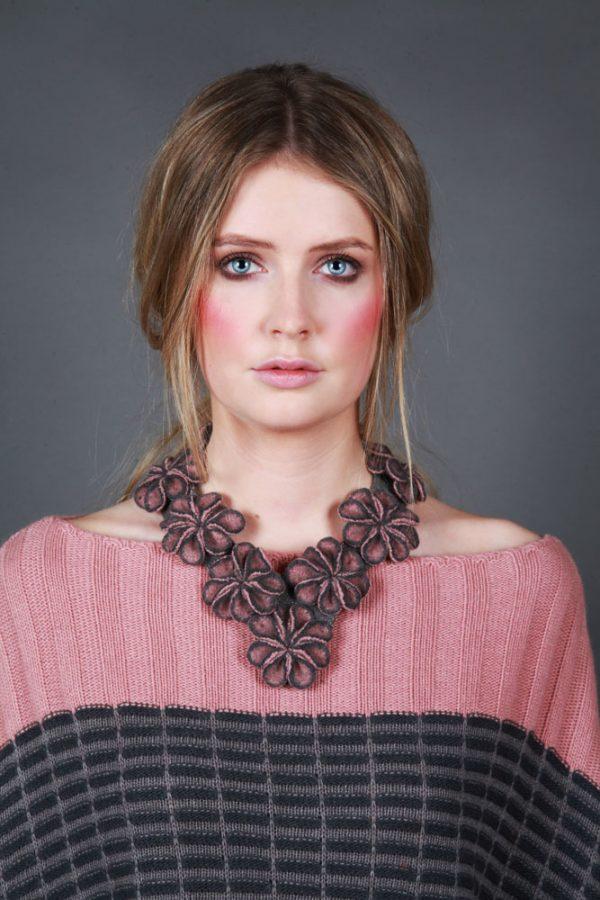Multi Small Blossom Neckpiece NECK14c-1 Linda Wilson Knitwear Irish Designer Limerick