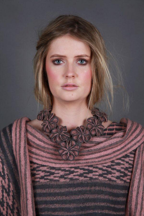 Multi Small Blossom Neckpiece NECK14c-2 Linda Wilson Knitwear Irish Designer Limerick