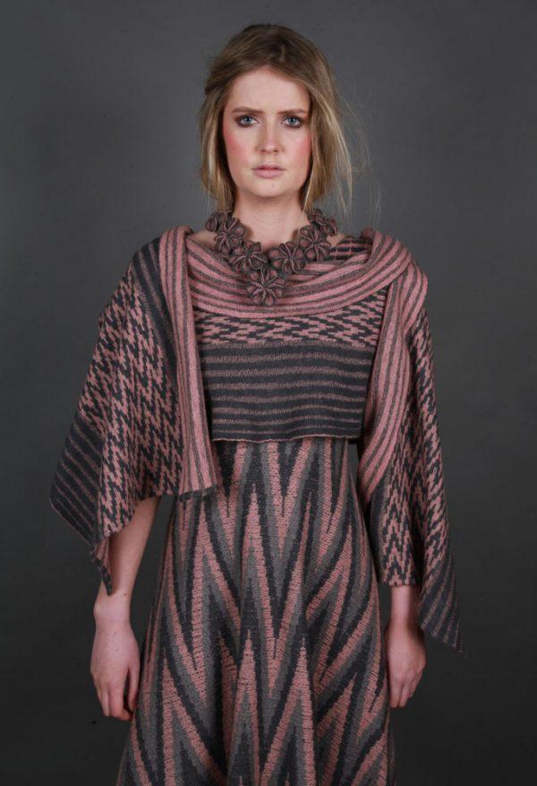 Multi Small Blossom Neckpiece NECK14c-3 Linda Wilson Knitwear Irish Designer Limerick