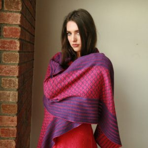 Over sized pattern striped scarf AC-SCF12-1 Linda Wilson Knitwear Irish Designer Limerick