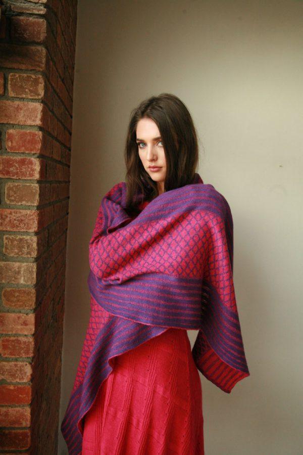 Over sized pattern striped scarf AC-SCF12-1 Linda Wilson Knitwear Irish Designer Limerick
