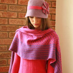 Over sized pattern striped scarf AC-SCF12-2 Linda Wilson Knitwear Irish Designer Limerick