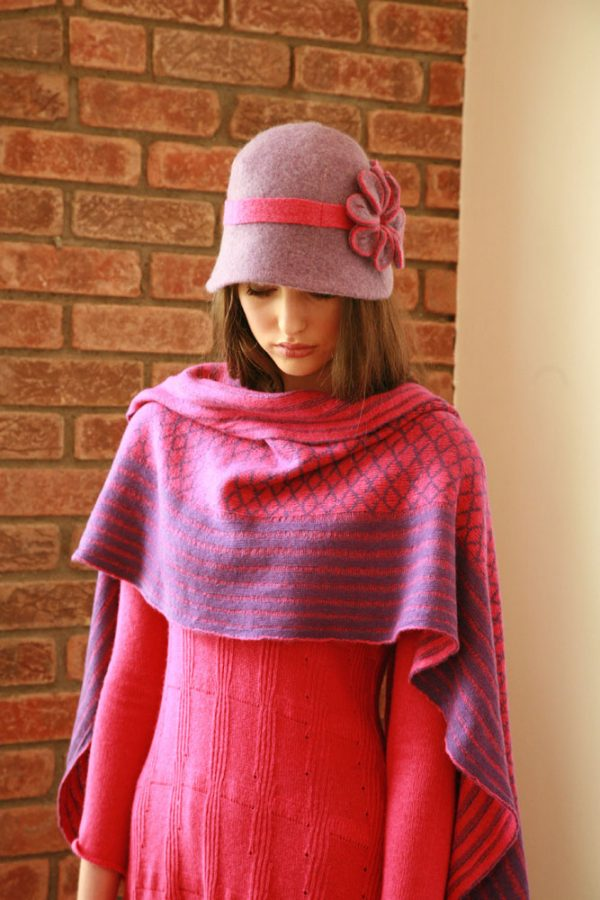 Over sized pattern striped scarf AC-SCF12-2 Linda Wilson Knitwear Irish Designer Limerick