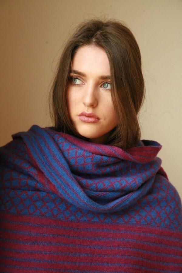 Over sized pattern striped scarf AC-SCF12-3 Linda Wilson Knitwear Irish Designer Limerick