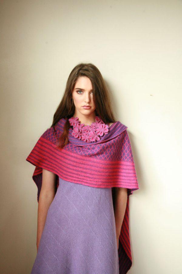 Over sized pattern striped scarf AC-SCF12-4 Linda Wilson Knitwear Irish Designer Limerick